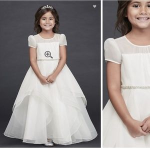 Organza Long Flower Girl Dress with Crystal Belt 6